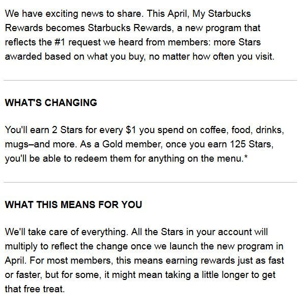 Starbucks Mail Press Release
